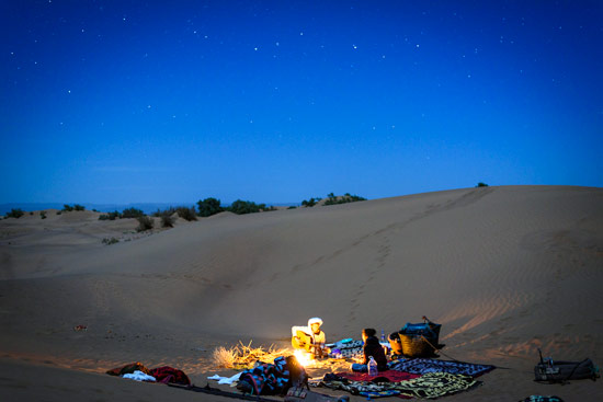 Sahara desert night sleeping